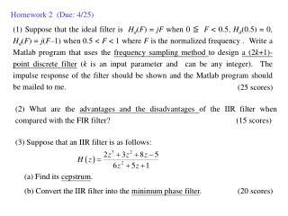 Homework 2  (Due:  4/25)