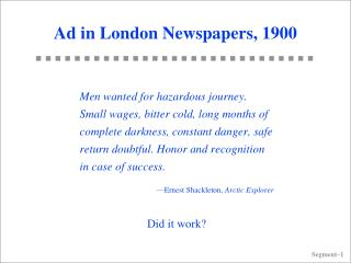 Ad in London Newspapers, 1900