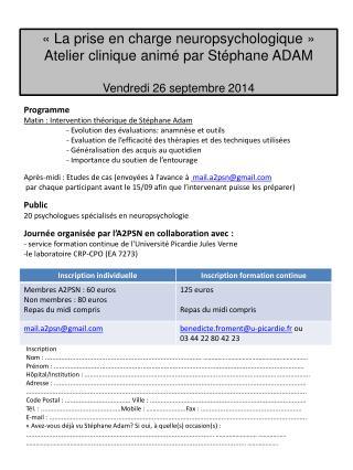 Programme Matin : Intervention théorique de Stéphane Adam