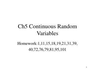 Ch5 Continuous Random Variables