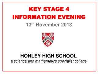 HONLEY HIGH SCHOOL a science and mathematics specialist college