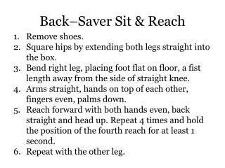 Back–Saver Sit & Reach