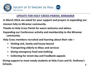 UPDATE FOR HOLY CROSS PARISH, MIRAMAR