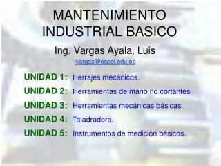 MANTENIMIENTO INDUSTRIAL BASICO