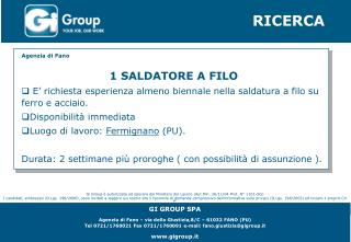 GI GROUP SPA Agenzia di Fano – via della Giustizia,8/C – 61032 FANO (PU)