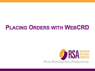 Placing Orders with WebCRD