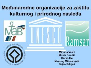Međunarodne organizacije za zaštitu kulturnog i prirodnog nasleđa