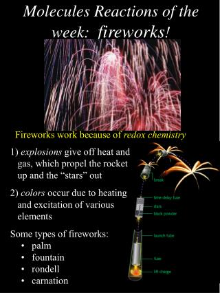 Molecules Reactions of the week:   fireworks !