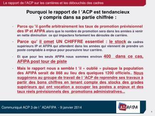 Pourquoi le rapport de l'ACP est tendancieux  y compris dans sa partie chiffrée :