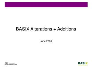 BASIX Alterations  Additions