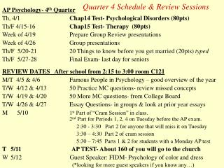Quarter 4 Schedule & Review Sessions