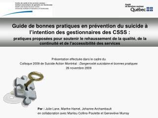 Guide de bonnes pratiques en prévention du suicide à l'intention des gestionnaires des CSSS :