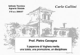 Prof. Pietro Cavagna  Il peperone di Voghera merita  una  tutela, una promozione, un disciplinare