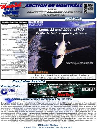 présente CONFÉRENCE C ANADAIR/ BOMBARDIER CHALLENGER 600