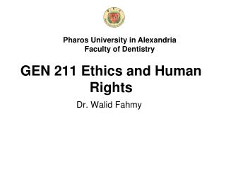 GEN 211 Ethics and Human Rights