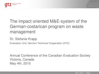 The impact oriented  M&E- system  of  the German-costarican program on waste management