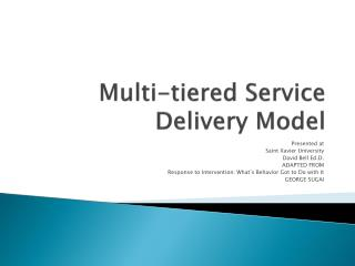 Multi-tiered Service Delivery Model
