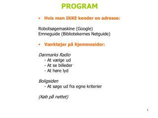 PROGRAM  Hvis man IKKE kender en adresse: Robotsøgemaskine (Google)