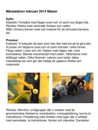 Månadsbrev februari 2014 Måsen Syfte: