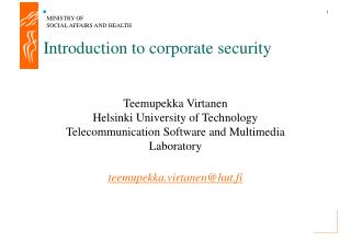 Introduction to corporate security