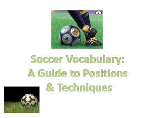 Soccer Vocabulary:  A Guide to Positions  & Techniques