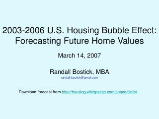 2003-2006 U.S. Housing Bubble Effect:  Forecasting Future Home Values
