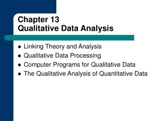 Chapter 13 Qualitative Data Analysis