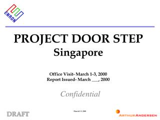 PROJECT DOOR STEP Singapore Office Visit- March 1-3, 2000 Report Issued- March ___, 2000