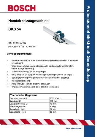Handcirkelzaagmachine  GKS 54
