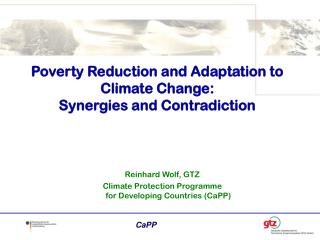Poverty Reduction and Adaptation to Climate Change:  Synergies and Contradiction