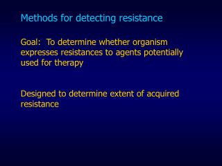 Methods for detecting resistance
