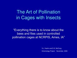 The Art of Pollination  in Cages with Insects