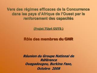 Réunion du Groupe National de Référence  Ouagadougou, Burkina Faso,  Octobre  2008