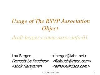 Usage of The RSVP Association Object draft-berger-ccamp-assoc-info-01