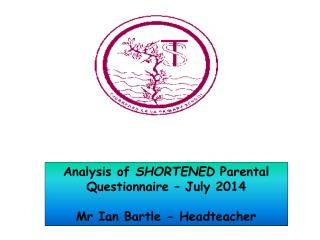 Analysis of  SHORTENED  Parental  Questionnaire –  July 2014 Mr Ian  Bartle  -  Headteacher