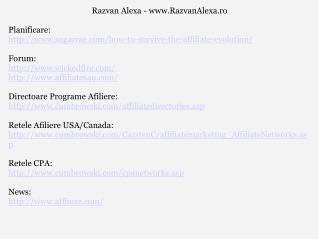 Razvan Alexa - RazvanAlexa.ro Planificare: