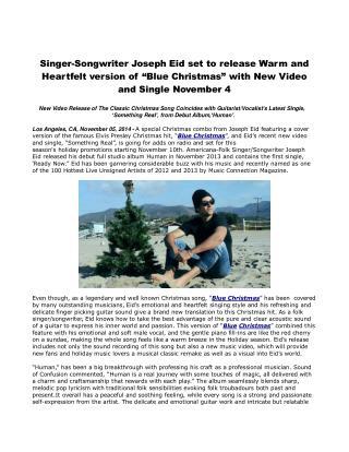 Singer-Songwriter Joseph Eid set to release Warm