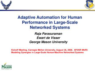 Adaptive Automation for Human Performance in Large-Scale Networked Systems