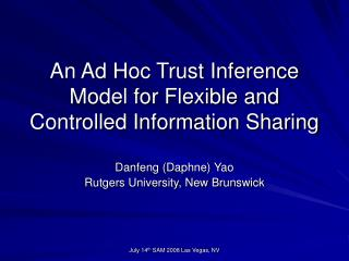 An Ad Hoc Trust Inference Model for Flexible and Controlled Information Sharing