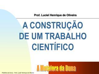 A CONSTRUÇÃO  DE UM TRABALHO CIENTÍFICO