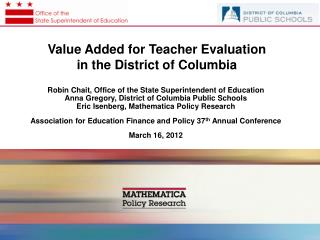 Value Added for Teacher Evaluation  in the District of Columbia