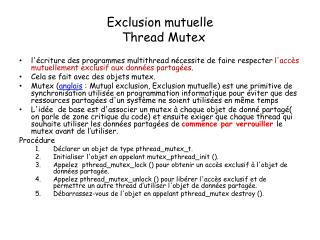 Exclusion mutuelle   Thread Mutex