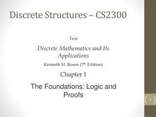 Discrete Structures – CS2300