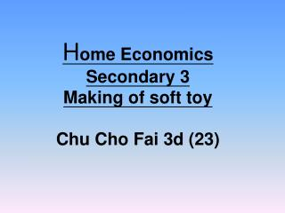 H ome Economics  Secondary 3 Making of soft toy Chu Cho Fai 3d (23)