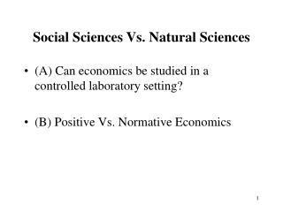 Social Sciences Vs. Natural Sciences