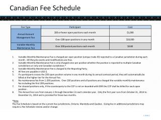 Canadian Fee Schedule