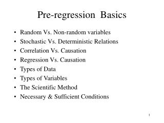 Pre-regression  Basics