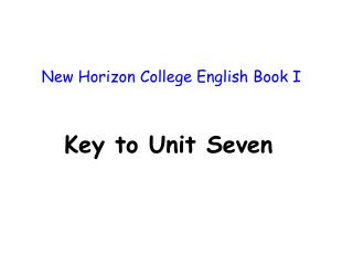 New Horizon College English Book I