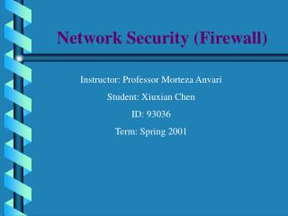 Network Security (Firewall)