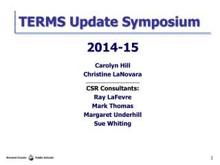 TERMS Update Symposium